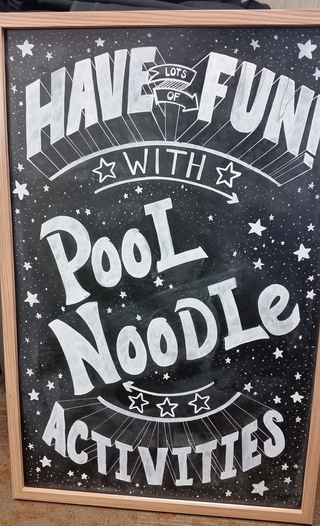 have fun with pool noodles blackboard