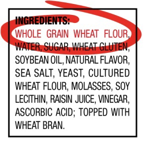 list of ingredients in whole grain bread